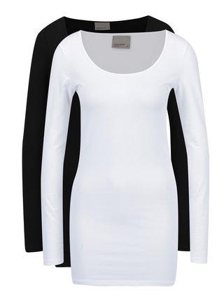 Súprava dvoch dlhých tričiek v čiernej a bielej farbe VERO MODA