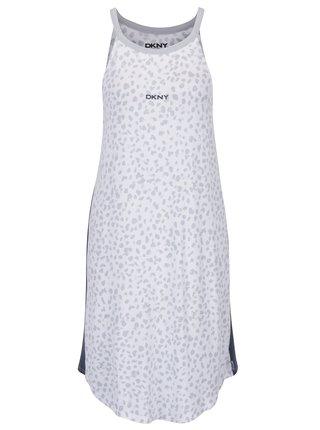 Camasa de noapte gri-crem cu motiv ghepard DKNY