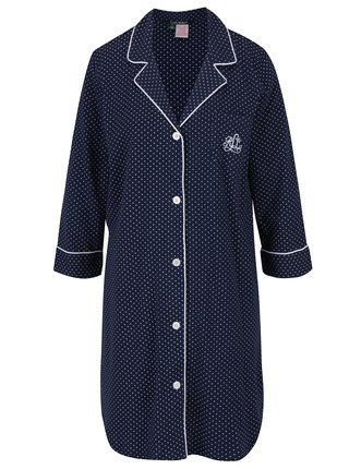 309730b3fb07 Tmavomodrá bodkovaná nočná košeľa Lauren Ralph Lauren Heritage