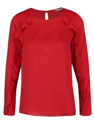 Bluza rosie cu volane Dorothy Perkins Petite