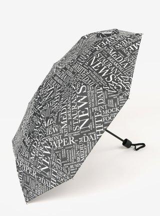 Černý vzorovaný skládací deštník Derby