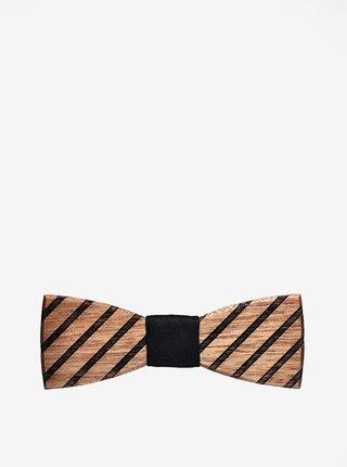 Hnedý pánsky drevený gravírovaný motýlik BeWooden Buteo