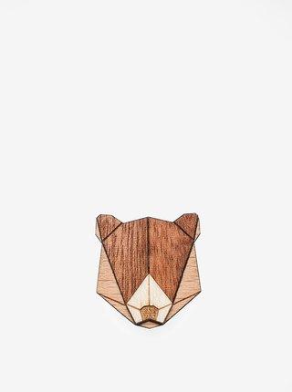 Drevená brošňa v tvare medveďa BeWooden Bear Brooch