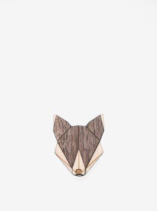 Brosa din lemn in forma de lup - BeWooden Wolf Brooch