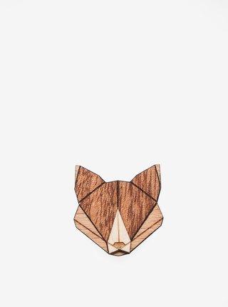 Dřevěná brož ve tvaru lišky BeWooden Fox Brooch