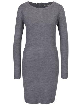 Sivé svetrové šaty s dlhým rukávom Haily's Naomi