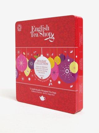Červená plechová dárková kazeta čajů English Tea Shop