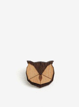Dřevěná brož ve tvaru sovy BeWooden Owl Brooch