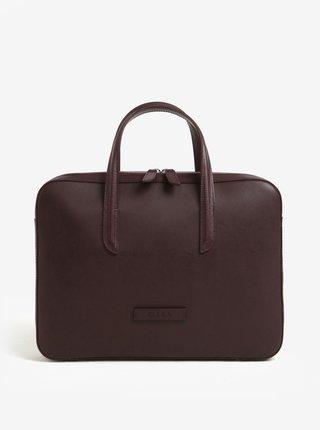 Vínová dámská kožená taška na notebook ELEGA Lester