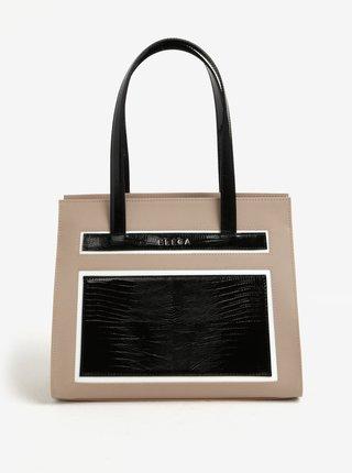 Černo-béžová kožená kabelka s hadím vzorem ELEGA Isabel