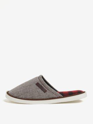 Papuci de casa maro&crem cu model chevron Oldcom Luxhome