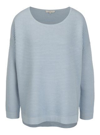 Pulover oversized bleu cu dungi in relief -  Selected Femme Laua