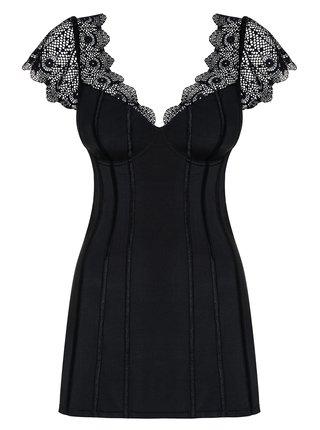 Set negru cu camasa de noapte mulata si chilot tanga Obsessive Moketta chemise