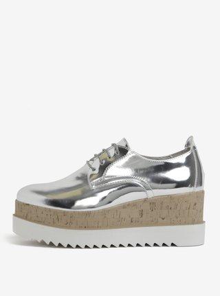 Pantofi argintii cu platforma inalta Tamaris