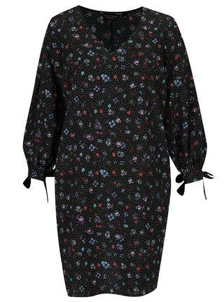 Čierne kvetované šaty s dlhým rukávom Dorothy Perkins Curve