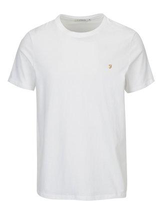 Tricou basic slim fit alb cu logo brodat - Farah Denny