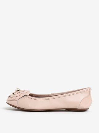 Světle růžové kožené baleríny Dune London Hyacinth