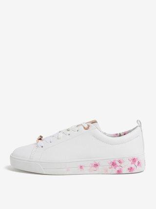 Tenisi albi din piele naturala cu print floral - Ted Baker Kellei P