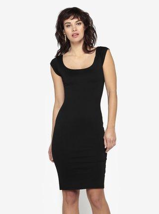 Čierne puzdrové basic šaty s okrúhlym výstrihom ZOOT