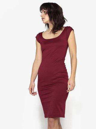 Červené pouzdrové šaty s kulatým výstřihem ZOOT