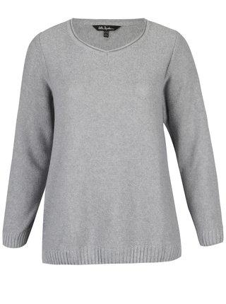Pulover gri tricotat cu decolteu anchior - Ulla Popken