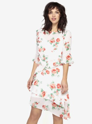 Biele asymetrické kvetované šaty s volánmi Miss Selfridge