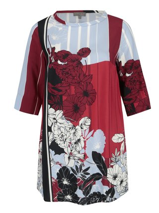 Bluza lunga cu print floral rosu & albastru - Ulla Popken
