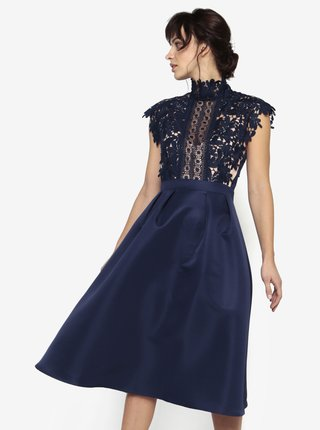 Tmavomodré šaty s čipkovaným topom a stojáčikom Little Mistress