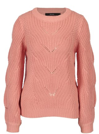 Pulover coral cu model impletit VERO MODA Wishi