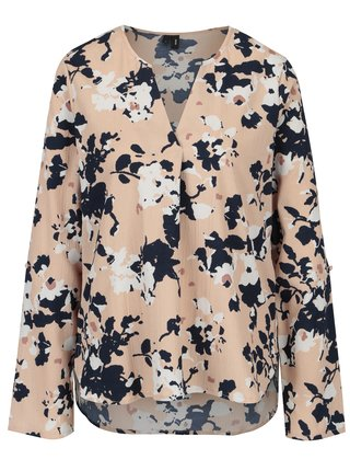 Bluza asimetrica nude cu print floral - VERO MODA Bali
