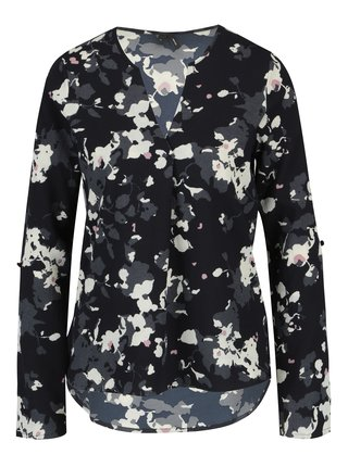 Bluza asimetrica bleumarin cu print floral - VERO MODA Bali