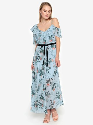 Rochie maxi cold shoulder bleu cu print floral si pliseuri -  French Connection Kioa