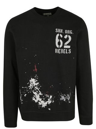 Bluza sport neagra cu efect de picaturi de vopsea - Shine Original