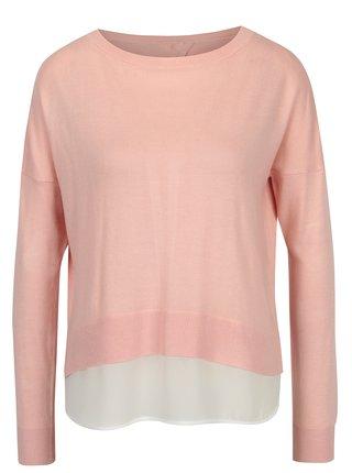 701b9112536f Svetloružový tenký sveter s mašľou a košeľovou vsadkou ONLY Rosana