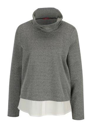 Šedý dámský lehký svetr s všitou košilí s.Oliver