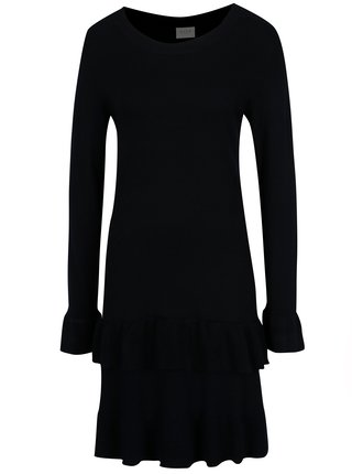 Tmavomodré šaty s volánmi VILA Minte