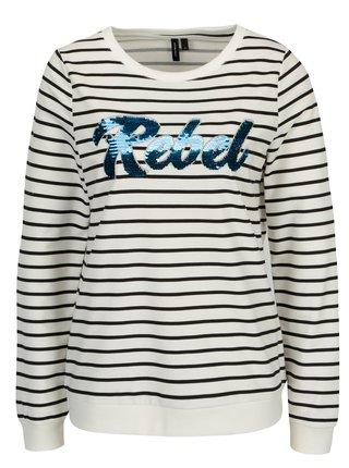 Bluza crem cu dungi negre si paiete reversibile - VERO MODA Girls