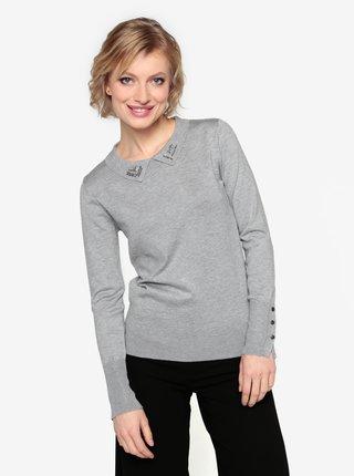 Šedý lehký svetr s límečkem Oasis Napoleonic