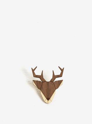 Drevená brošňa v tvare jeleňa BeWooden Deer Brooch