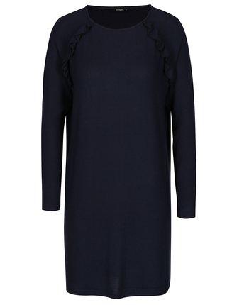 Tmavomodré svetrové šaty s volánmi ONLY New Maye