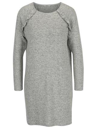Svetlosivé melírované svetrové šaty s volánmi ONLY New Maye