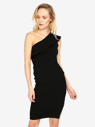 Čierne puzdrové asymetrické šaty s volánom MISSGUIDED