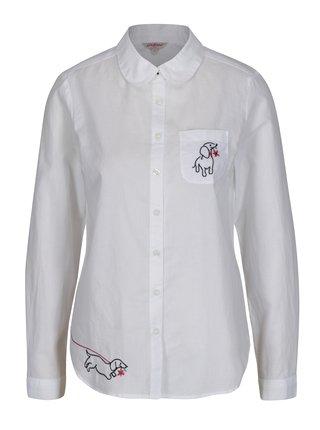 Biela dámska košeľa s výšivkami Cath Kidston