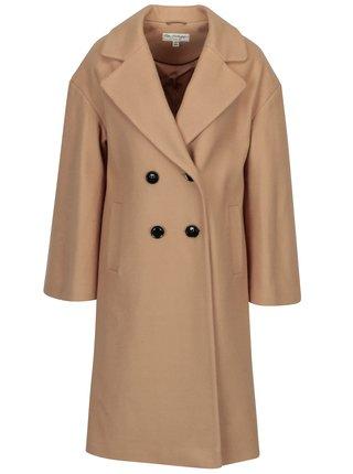 Béžový kabát s prímesou vlny Miss Selfridge