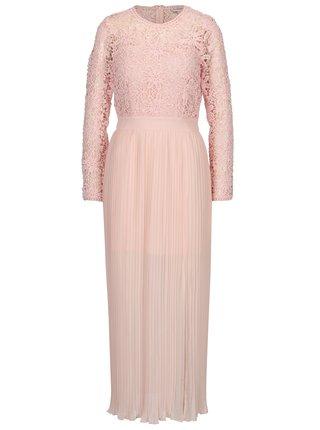 Růžové maxišaty s krajkovým topem Miss Selfridge