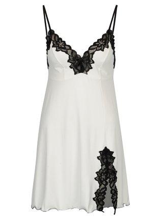 Camasa de noapte negru & alb cu detalii din dantela - Eldar Roma