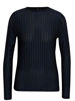 Tmavě modré tričko s průsvitnými pruhy VERO MODA Ann