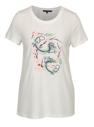 Krémové tričko s výšivkou čínskeho draka VERO MODA Justine