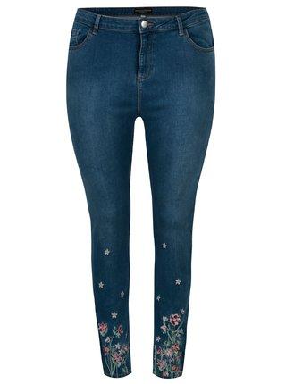 Blugi skinny albastri cu broderie florala - Dorothy Perkins Curve