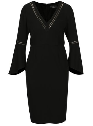 Černé pouzdrové šaty se zvonovými rukávy Paper Dolls